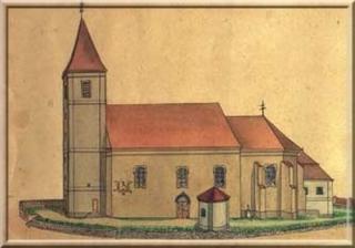 hist. kresba kostela Hroby